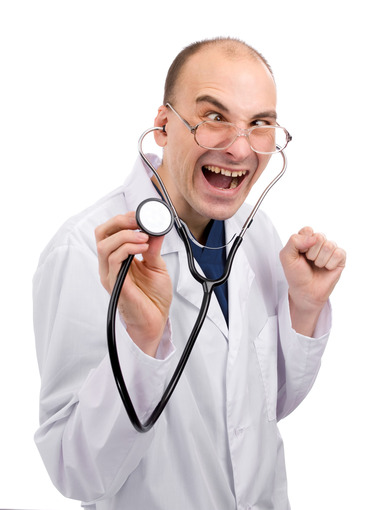 Crazy doctor isolated over white