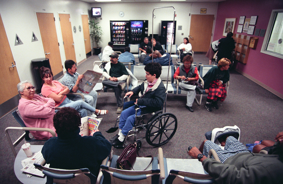 Crowded emergency room waiting area.