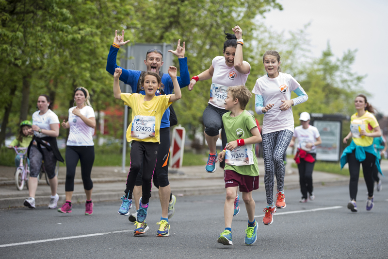 Participants compete during the Wings for Life World Run in Ljubljana, Slovenia on May 3, 2015.